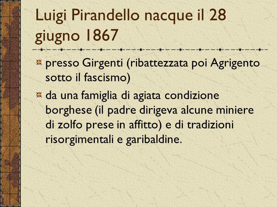 Luigi Pirandello nacque il 28 giugno 1867 presso Girgenti (ribattezzata poi Agrigento sotto il fascismo) da una famiglia di agiata condizione borghese