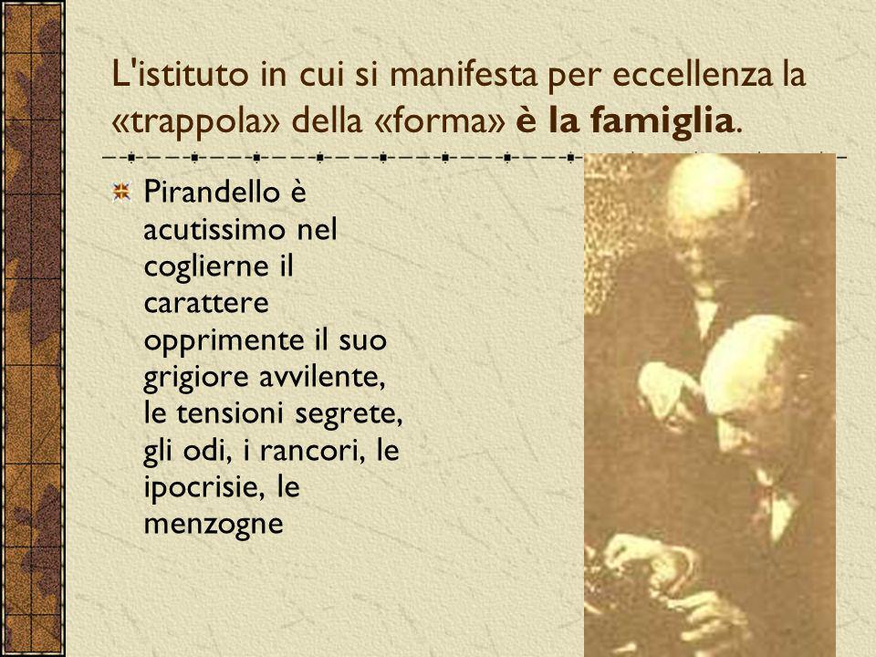L'istituto in cui si manifesta per eccellenza la «trappola» della «forma» è la famiglia. Pirandello è acutissimo nel coglierne il carattere opprimente