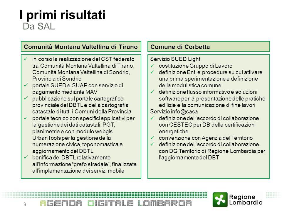 Da SAL 9 I primi risultati Comunità Montana Valtellina di Tirano in corso la realizzazione del CST federato tra Comunità Montana Valtellina di Tirano,