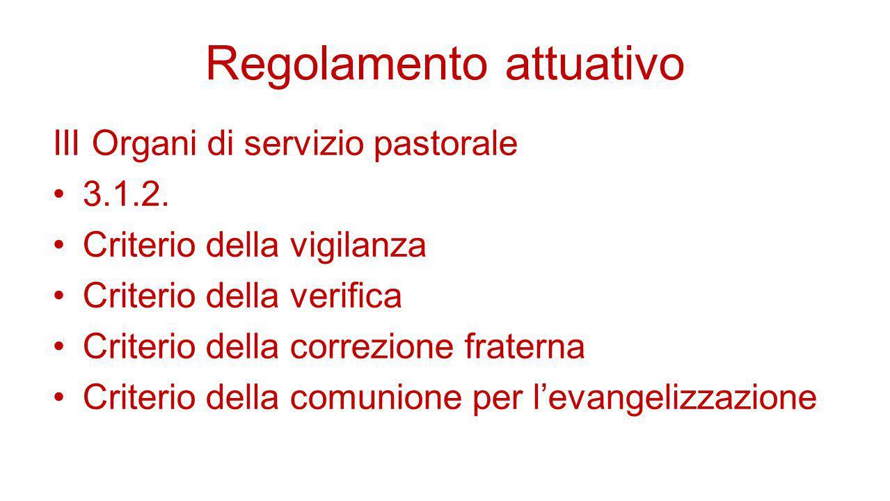 Regolamento attuativo III Organi di servizio pastorale 3.1.2. Criterio della vigilanza Criterio della verifica Criterio della correzione fraterna Crit