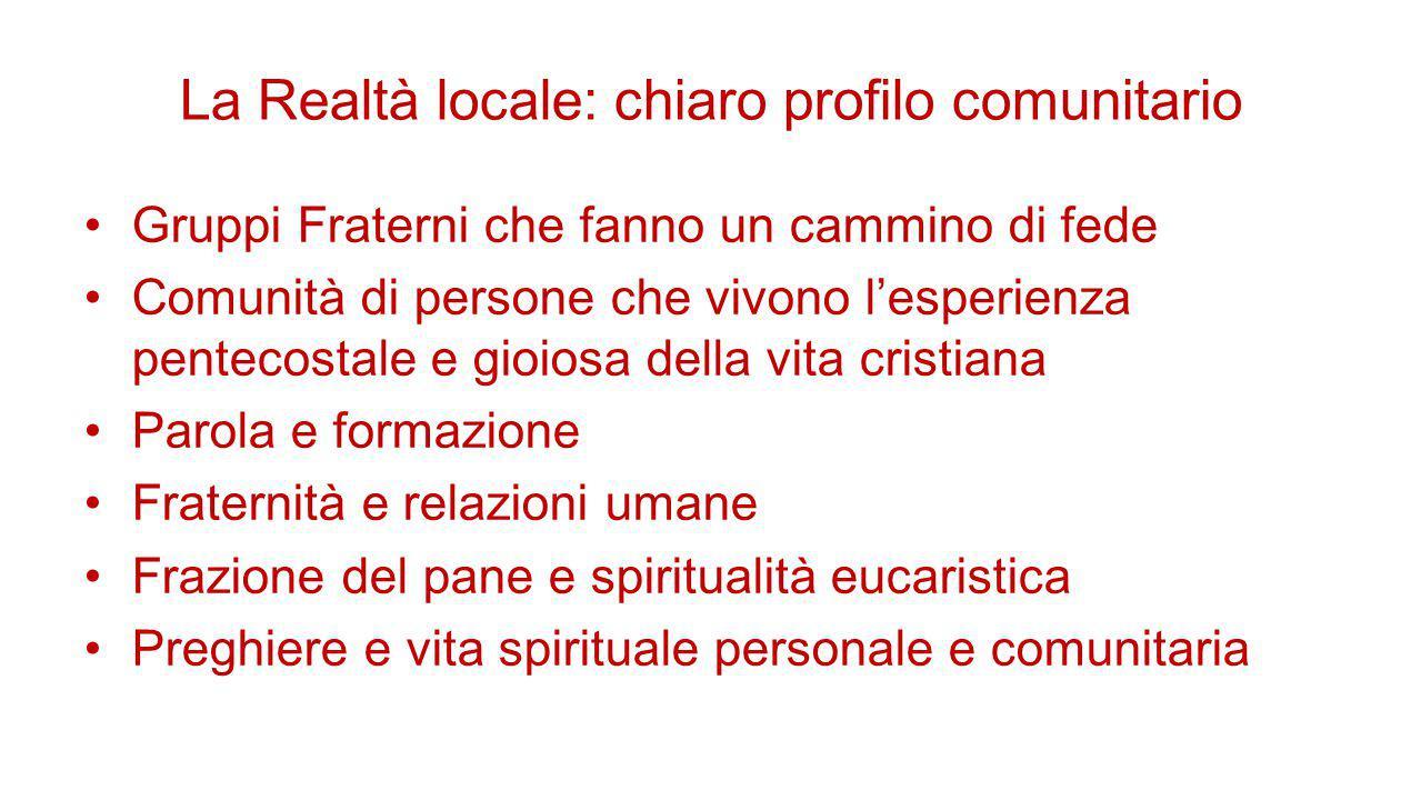 La Realtà locale: chiaro profilo comunitario Gruppi Fraterni che fanno un cammino di fede Comunità di persone che vivono l'esperienza pentecostale e g