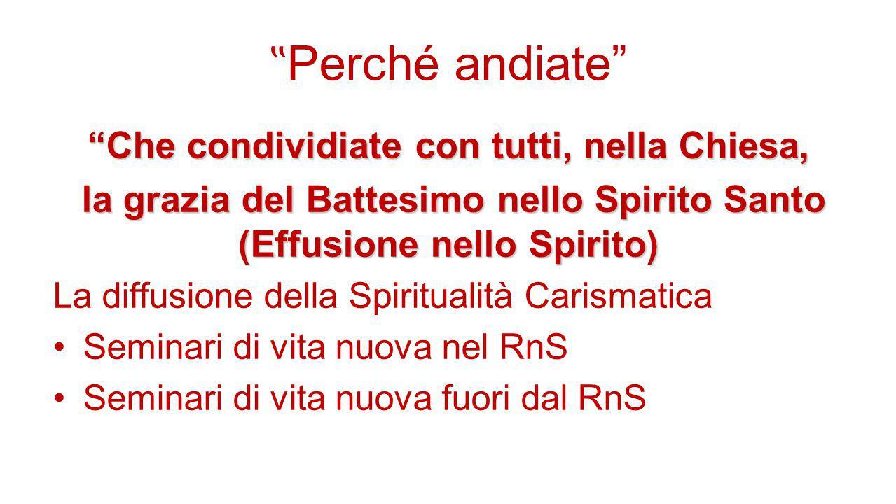 """"""" Perché andiate"""" """"Che condividiate con tutti, nella Chiesa, la grazia del Battesimo nello Spirito Santo (Effusione nello Spirito) la grazia del Batte"""