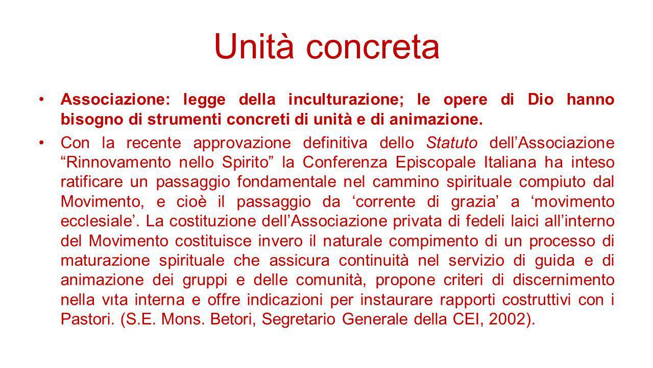 Unità concreta Associazione: legge della inculturazione; le opere di Dio hanno bisogno di strumenti concreti di unità e di animazione. Con la recente