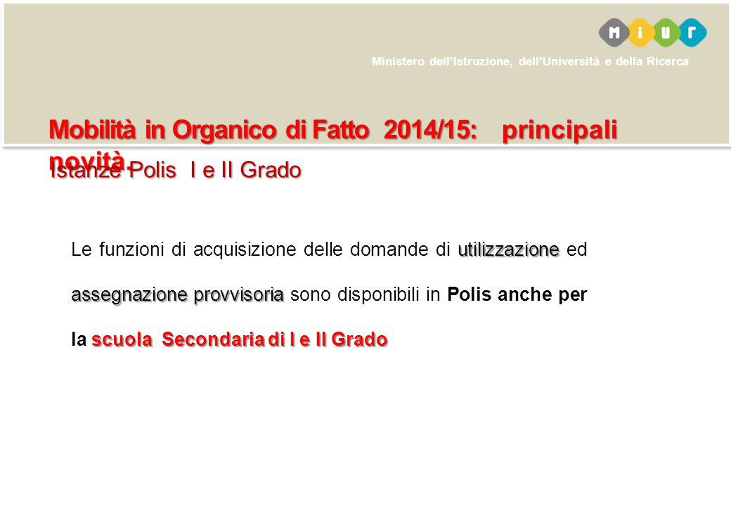 Ministero dell'Istruzione, dell'Università e della Ricerca Mobilità in Organico di Fatto 2014/15: principali novità. utilizzazione assegnazione provvi