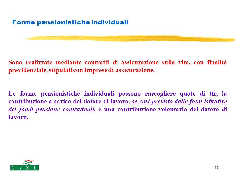 10 Forme pensionistiche individuali Sono realizzate mediante contratti di assicurazione sulla vita, con finalità previdenziale, stipulati con imprese