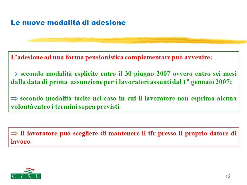 12 Le nuove modalità di adesione L'adesione ad una forma pensionistica complementare può avvenire:  secondo modalità esplicite entro il 30 giugno 200