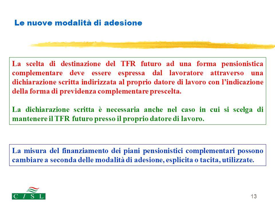 13 Le nuove modalità di adesione La scelta di destinazione del TFR futuro ad una forma pensionistica complementare deve essere espressa dal lavoratore