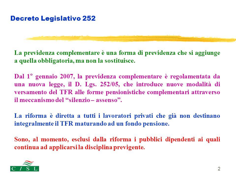 2 Decreto Legislativo 252 La previdenza complementare è una forma di previdenza che si aggiunge a quella obbligatoria, ma non la sostituisce. Dal 1° g