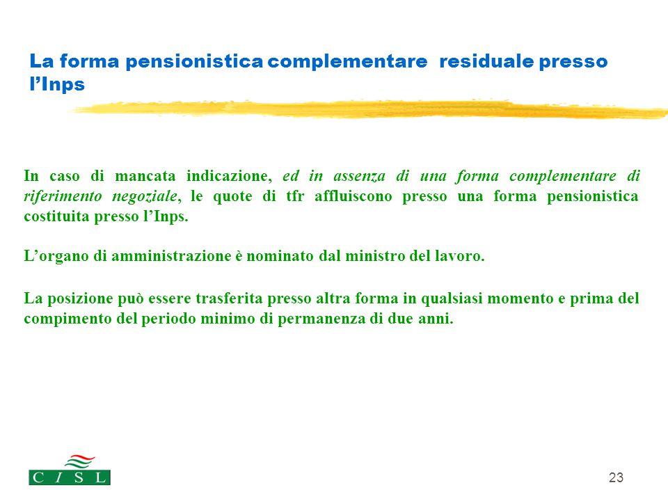 23 La forma pensionistica complementare residuale presso l'Inps In caso di mancata indicazione, ed in assenza di una forma complementare di riferiment