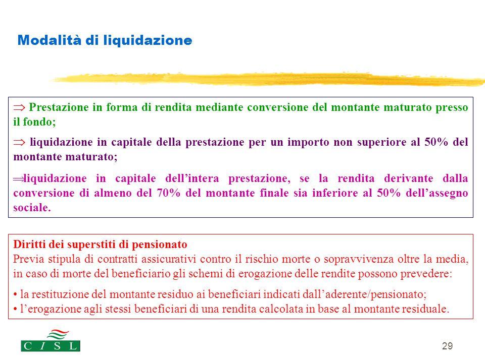 29 Modalità di liquidazione  Prestazione in forma di rendita mediante conversione del montante maturato presso il fondo;  liquidazione in capitale d