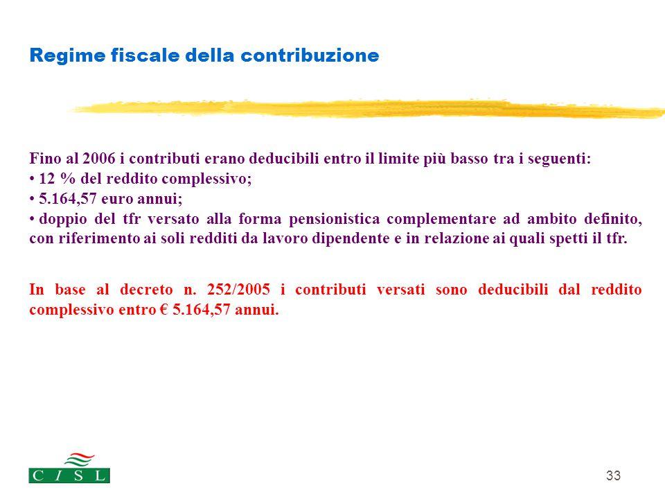 33 Regime fiscale della contribuzione Fino al 2006 i contributi erano deducibili entro il limite più basso tra i seguenti: 12 % del reddito complessiv