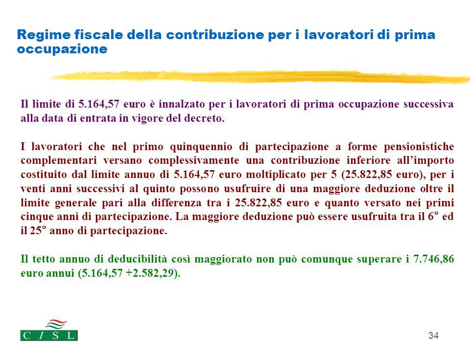 34 Regime fiscale della contribuzione per i lavoratori di prima occupazione Il limite di 5.164,57 euro è innalzato per i lavoratori di prima occupazio