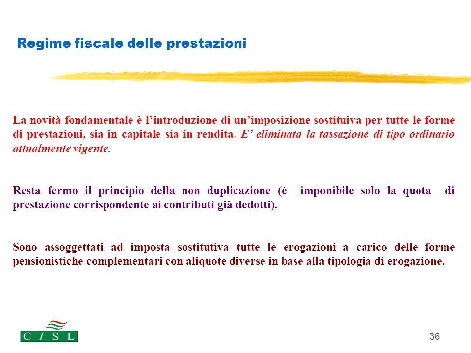 36 Regime fiscale delle prestazioni La novità fondamentale è l'introduzione di un'imposizione sostituiva per tutte le forme di prestazioni, sia in cap