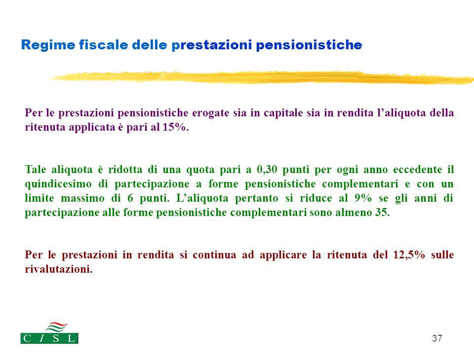 37 Regime fiscale delle prestazioni pensionistiche Per le prestazioni pensionistiche erogate sia in capitale sia in rendita l'aliquota della ritenuta
