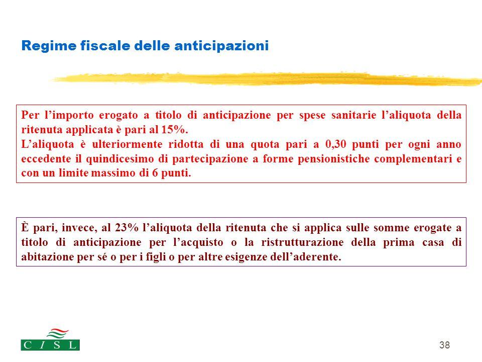 38 Regime fiscale delle anticipazioni Per l'importo erogato a titolo di anticipazione per spese sanitarie l'aliquota della ritenuta applicata è pari a