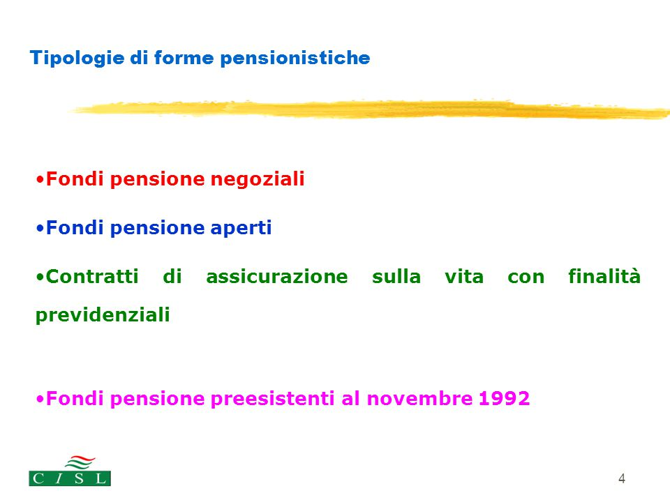4 Tipologie di forme pensionistiche Fondi pensione negoziali Fondi pensione aperti Contratti di assicurazione sulla vita con finalità previdenziali Fo
