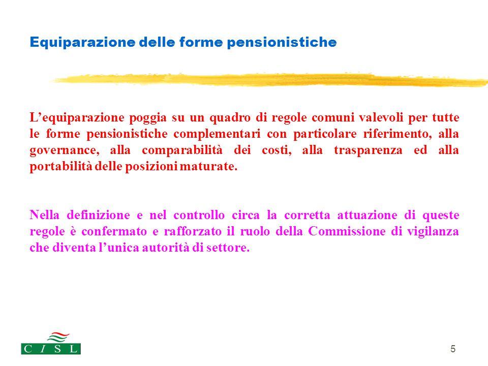 5 Equiparazione delle forme pensionistiche L'equiparazione poggia su un quadro di regole comuni valevoli per tutte le forme pensionistiche complementa