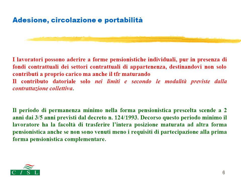 6 Adesione, circolazione e portabilità I lavoratori possono aderire a forme pensionistiche individuali, pur in presenza di fondi contrattuali dei sett
