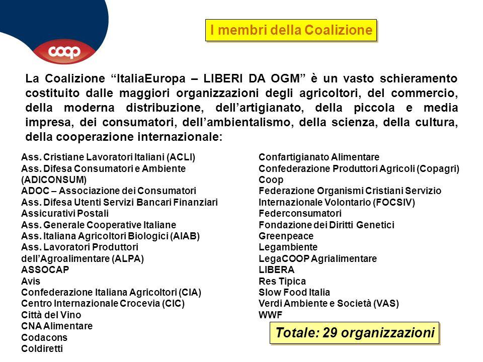 """La Coalizione """"ItaliaEuropa – LIBERI DA OGM"""" è un vasto schieramento costituito dalle maggiori organizzazioni degli agricoltori, del commercio, della"""