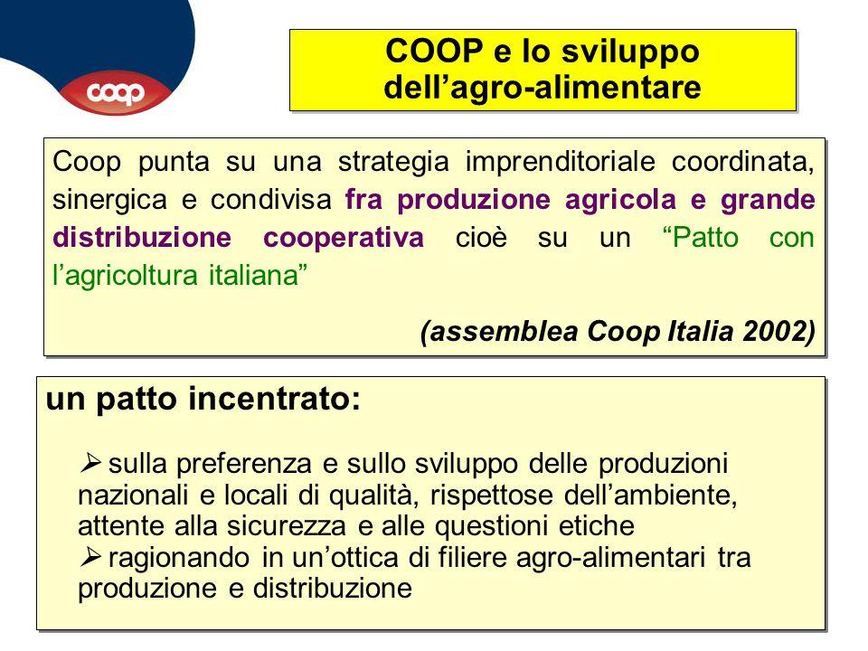 COOP e lo sviluppo dell'agro-alimentare un patto incentrato:  sulla preferenza e sullo sviluppo delle produzioni nazionali e locali di qualità, rispe