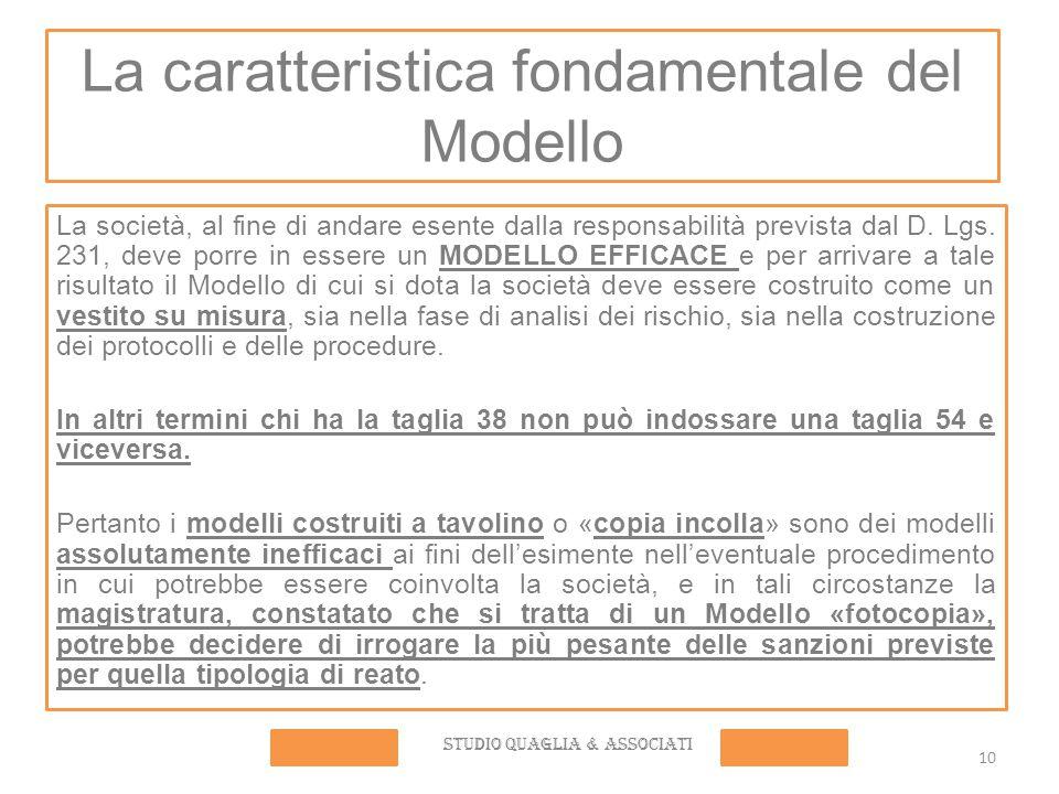 10 La caratteristica fondamentale del Modello La società, al fine di andare esente dalla responsabilità prevista dal D. Lgs. 231, deve porre in essere