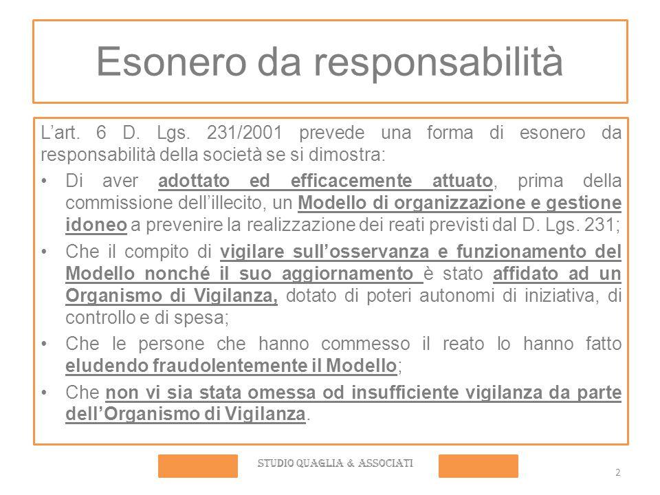 2 Esonero da responsabilità L'art. 6 D. Lgs. 231/2001 prevede una forma di esonero da responsabilità della società se si dimostra: Di aver adottato ed