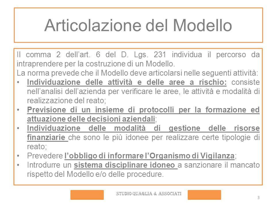 3 Articolazione del Modello Il comma 2 dell'art. 6 del D. Lgs. 231 individua il percorso da intraprendere per la costruzione di un Modello. La norma p