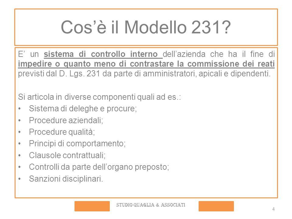 4 Cos'è il Modello 231? E' un sistema di controllo interno dell'azienda che ha il fine di impedire o quanto meno di contrastare la commissione dei rea