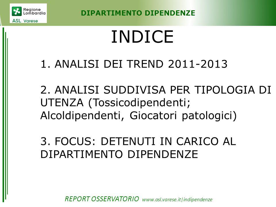 DIPARTIMENTO DIPENDENZE TREND: 2011/2013 Numero totale dei pazienti, Analisi suddivisa per tipologia di utenza, per età, per genere, per pazienti già in carico e nuovi.