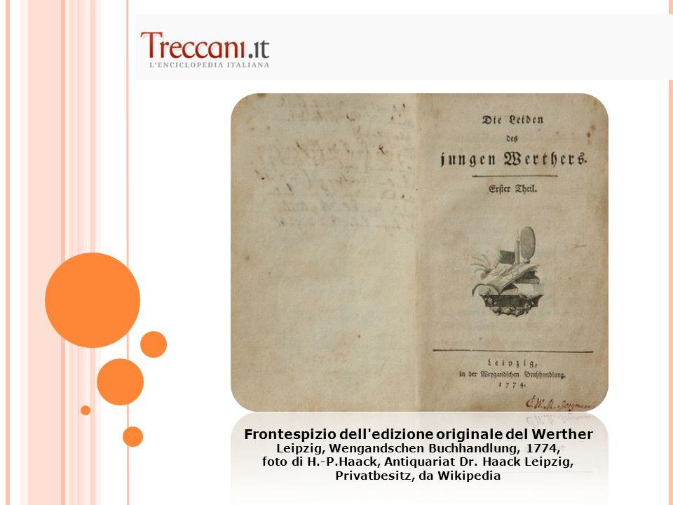 Frontespizio dell'edizione originale del Werther Leipzig, Wengandschen Buchhandlung, 1774, foto di H.-P.Haack, Antiquariat Dr. Haack Leipzig, Privatbe