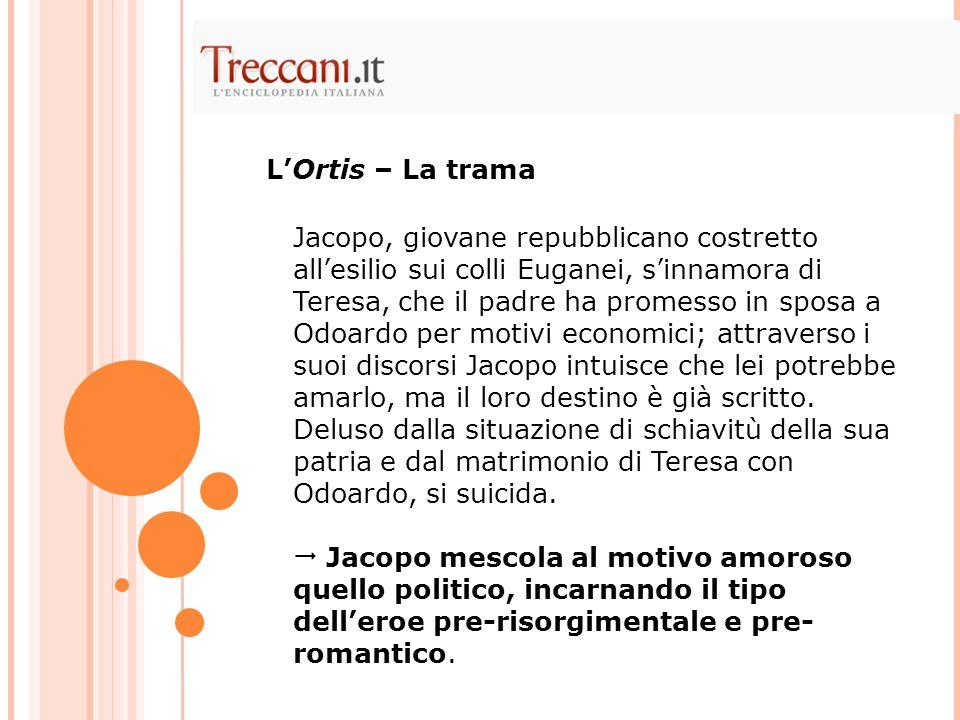 Jacopo, giovane repubblicano costretto all'esilio sui colli Euganei, s'innamora di Teresa, che il padre ha promesso in sposa a Odoardo per motivi econ