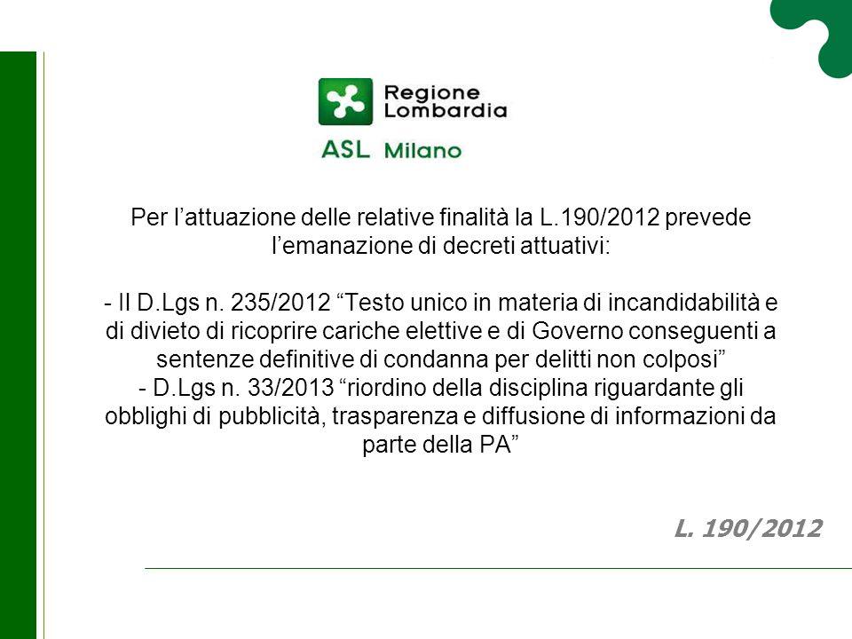 """Per l'attuazione delle relative finalità la L.190/2012 prevede l'emanazione di decreti attuativi: - Il D.Lgs n. 235/2012 """"Testo unico in materia di in"""