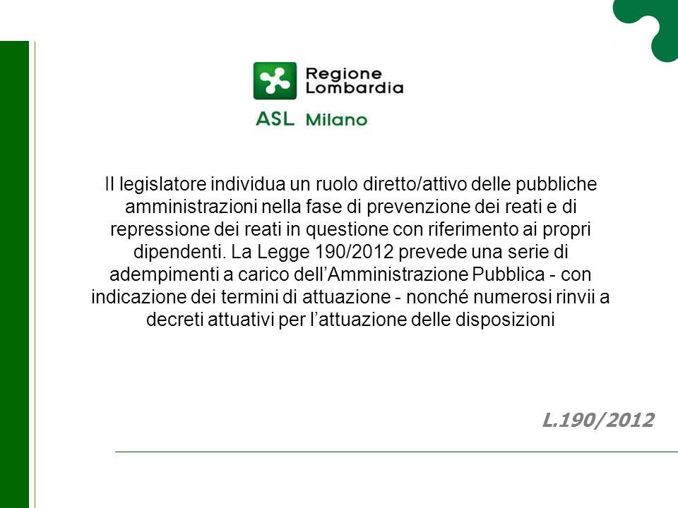 Il legislatore individua un ruolo diretto/attivo delle pubbliche amministrazioni nella fase di prevenzione dei reati e di repressione dei reati in que