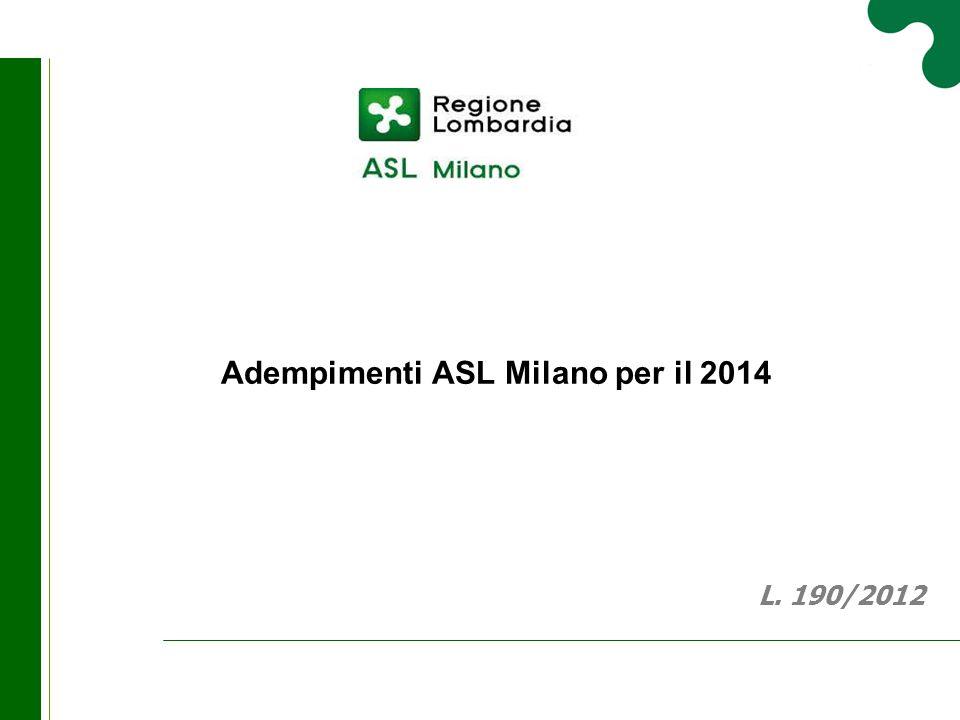 Adempimenti ASL Milano per il 2014 L. 190/2012