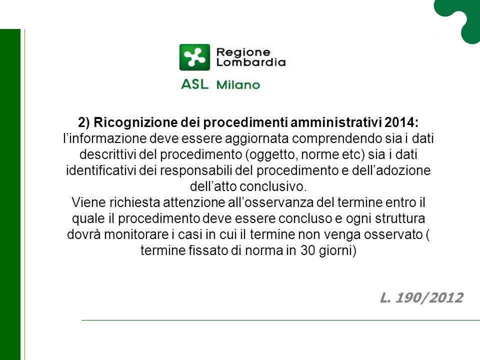 2) Ricognizione dei procedimenti amministrativi 2014: l'informazione deve essere aggiornata comprendendo sia i dati descrittivi del procedimento (ogge