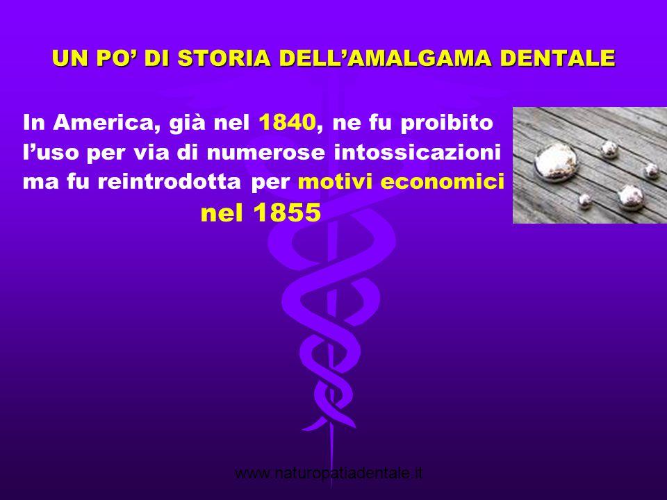 www.naturopatiadentale.it UN PO' DI STORIA DELL'AMALGAMA DENTALE Fin dal 1926 il Prof.