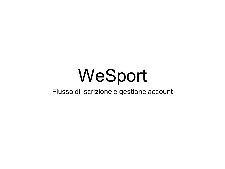 WeSport Flusso di iscrizione e gestione account