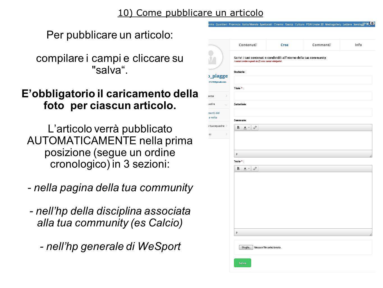 Per pubblicare un articolo: compilare i campi e cliccare su