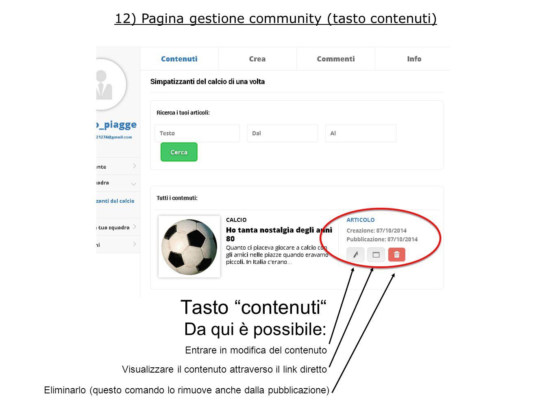 Tasto contenuti Da qui è possibile: Entrare in modifica del contenuto Visualizzare il contenuto attraverso il link diretto Eliminarlo (questo comando lo rimuove anche dalla pubblicazione) 12) Pagina gestione community (tasto contenuti)