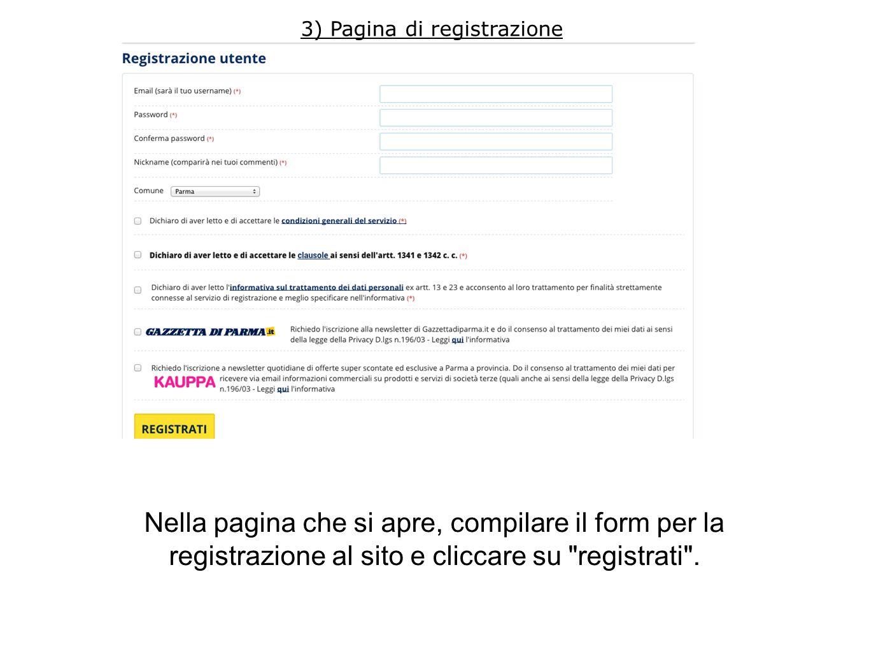 Nella pagina che si apre, compilare il form per la registrazione al sito e cliccare su