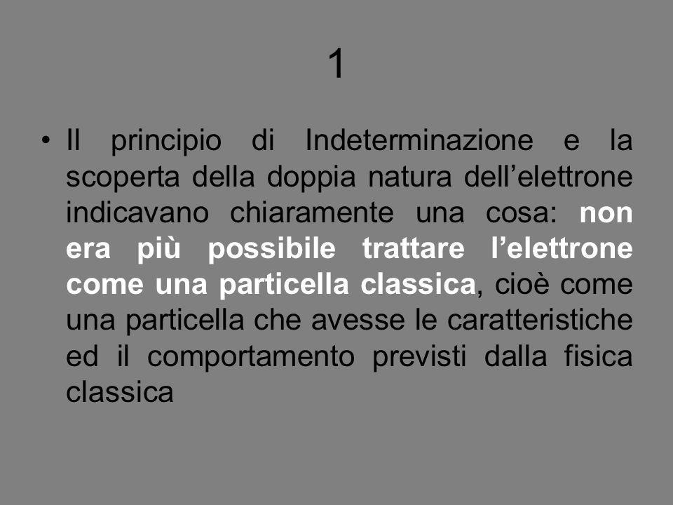 1 Il principio di Indeterminazione e la scoperta della doppia natura dell'elettrone indicavano chiaramente una cosa: non era più possibile trattare l'