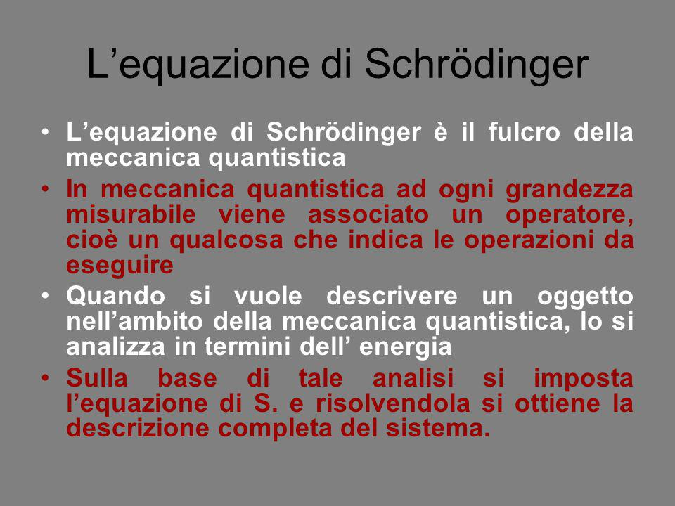 L'equazione di Schrödinger L'equazione di Schrödinger è il fulcro della meccanica quantistica In meccanica quantistica ad ogni grandezza misurabile vi