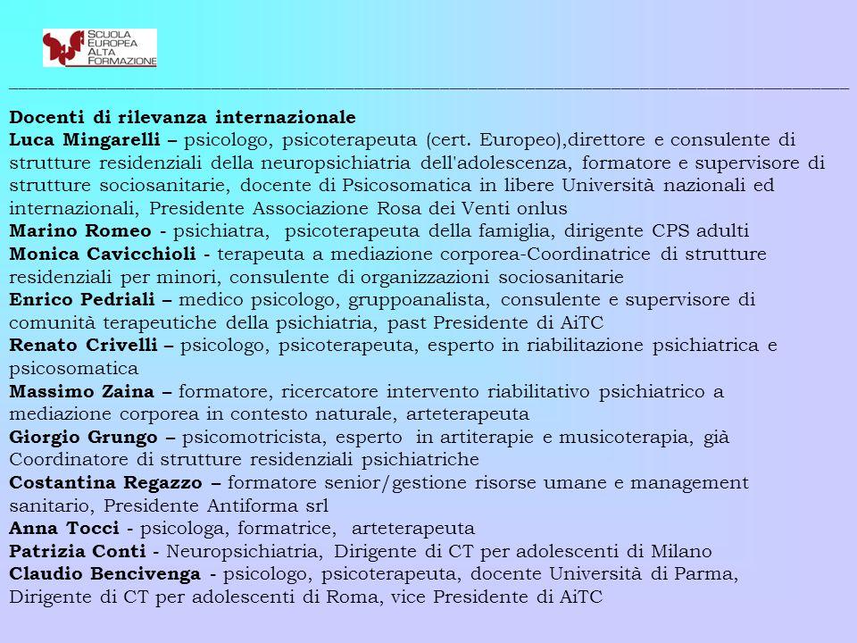 ________________________________________________________________________________________ Docenti di rilevanza internazionale Luca Mingarelli – psicologo, psicoterapeuta (cert.