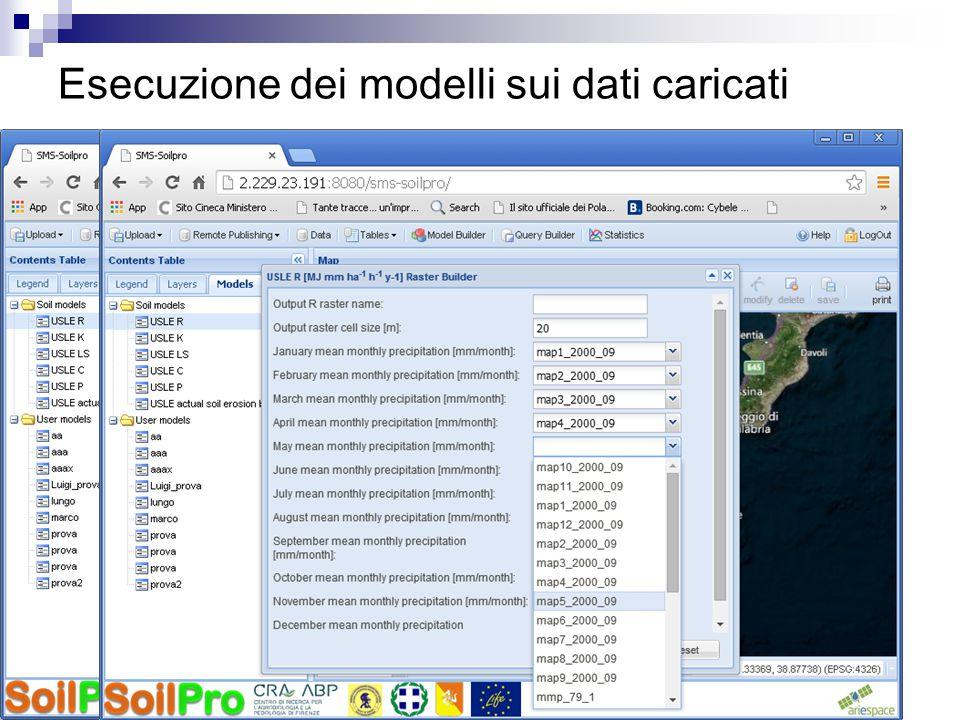 Esecuzione dei modelli sui dati caricati