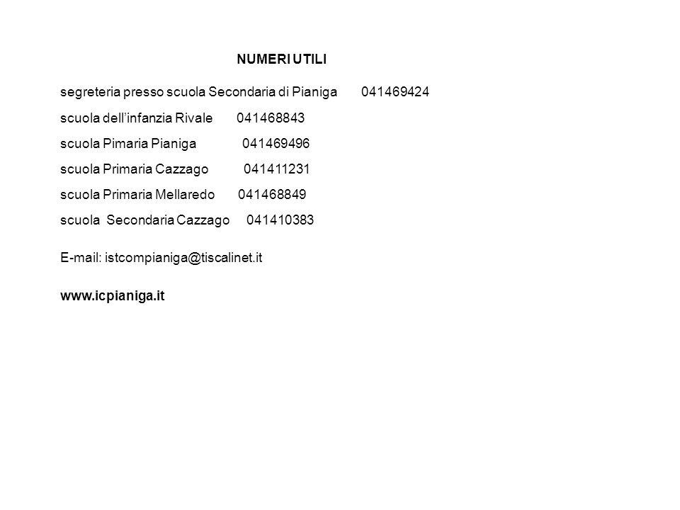 NUMERI UTILI segreteria presso scuola Secondaria di Pianiga 041469424 scuola dell'infanzia Rivale 041468843 scuola Pimaria Pianiga 041469496 scuola Primaria Cazzago 041411231 scuola Primaria Mellaredo 041468849 scuola Secondaria Cazzago 041410383 E-mail: istcompianiga@tiscalinet.it www.icpianiga.it