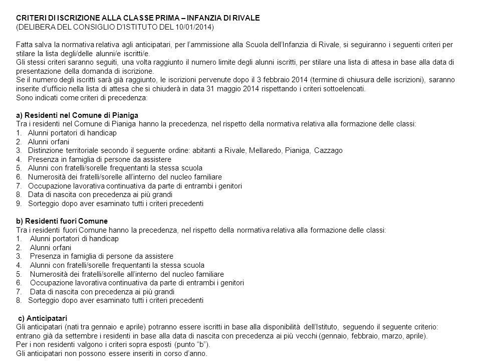 CRITERI DI ISCRIZIONE ALLA CLASSE PRIMA – INFANZIA DI RIVALE (DELIBERA DEL CONSIGLIO D'ISTITUTO DEL 10/01/2014) Fatta salva la normativa relativa agli anticipatari, per l'ammissione alla Scuola dell'Infanzia di Rivale, si seguiranno i seguenti criteri per stilare la lista degli/delle alunni/e iscritti/e.
