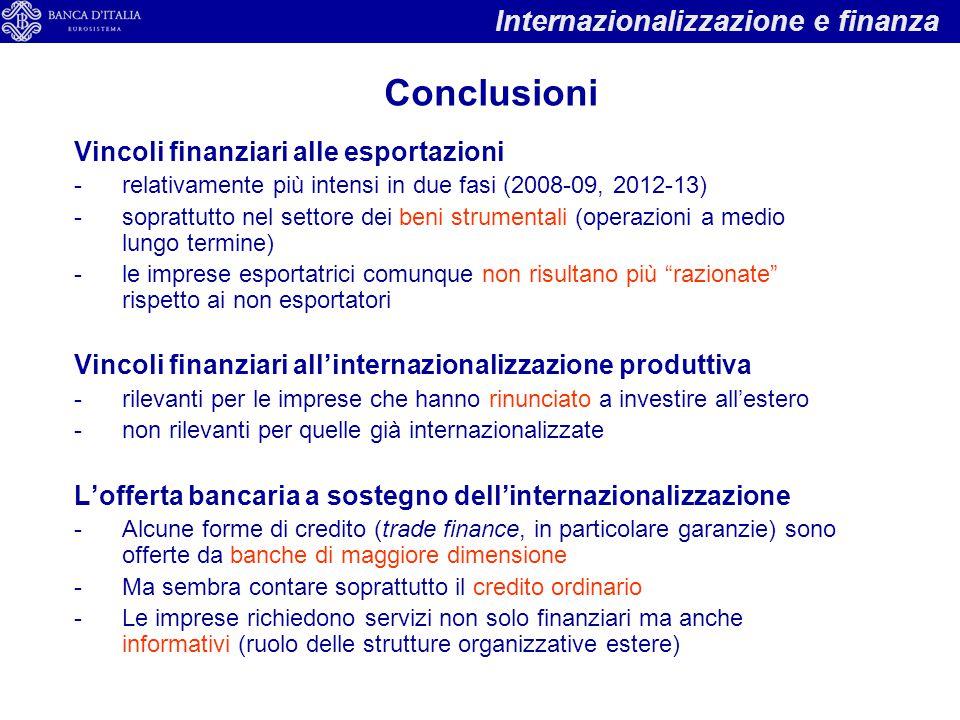 Vincoli finanziari alle esportazioni -relativamente più intensi in due fasi (2008-09, 2012-13) -soprattutto nel settore dei beni strumentali (operazioni a medio lungo termine) -le imprese esportatrici comunque non risultano più razionate rispetto ai non esportatori Vincoli finanziari all'internazionalizzazione produttiva -rilevanti per le imprese che hanno rinunciato a investire all'estero -non rilevanti per quelle già internazionalizzate L'offerta bancaria a sostegno dell'internazionalizzazione -Alcune forme di credito (trade finance, in particolare garanzie) sono offerte da banche di maggiore dimensione -Ma sembra contare soprattutto il credito ordinario -Le imprese richiedono servizi non solo finanziari ma anche informativi (ruolo delle strutture organizzative estere) Internazionalizzazione e finanza Conclusioni