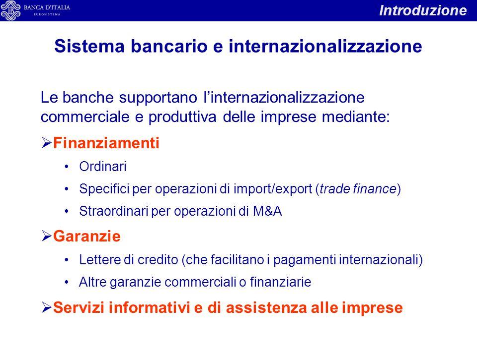 Le banche supportano l'internazionalizzazione commerciale e produttiva delle imprese mediante:  Finanziamenti Ordinari Specifici per operazioni di im