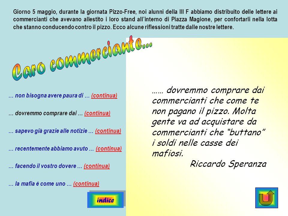 Giorno 5 maggio, durante la giornata Pizzo-Free, noi alunni della III F abbiamo distribuito delle lettere ai commercianti che avevano allestito i loro