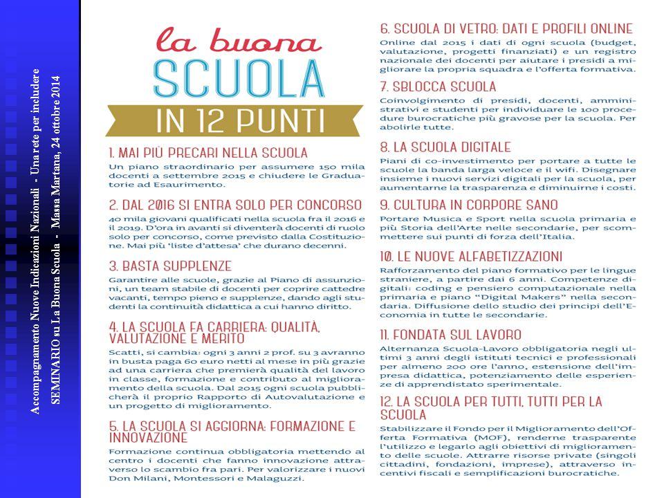 Accompagnamento Nuove Indicazioni Nazionali - Una rete per includere SEMINARIO su La Buona Scuola - Massa Martana, 24 ottobre 2014